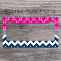 Hot magenta quatrefoil pattern navy chevron license plate frame